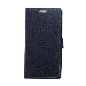 Croco style peněženkové pouzdro na BlackBerry Leap - tmavěmodré - 1