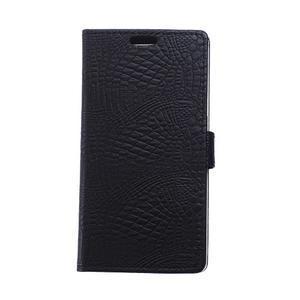 Croco style peněženkové pouzdro na BlackBerry Leap - černé - 1