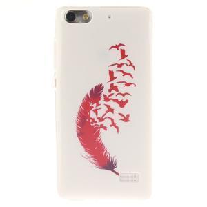 Gelový obal na mobil Honor 4C - ptačí peříčko - 1