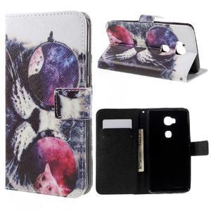 PU kožené pouzdro na mobil Honor 5X - cool kočka - 1