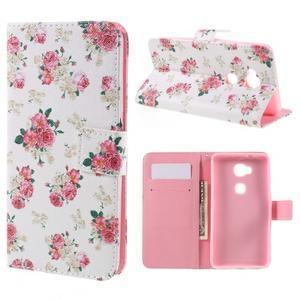 PU kožené pouzdro na mobil Honor 5X - květiny - 1
