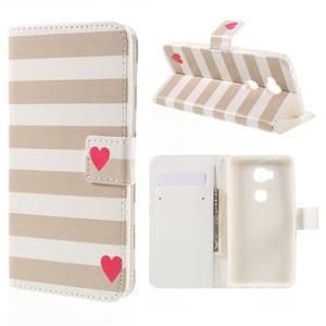 PU kožené pouzdro na mobil Honor 5X - srdce - 1