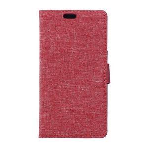 Textilní/koženkové pouzdro na Honor 5X - červené - 1