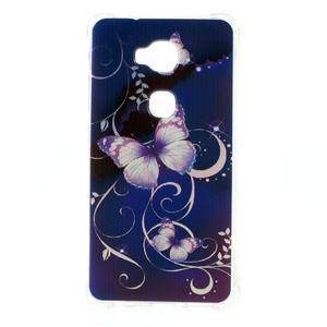 Drop gelový obal na Huawei Honor 5X - fialoví motýlci - 1