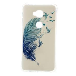 Drop gelový obal na Huawei Honor 5X - modré peříčko - 1