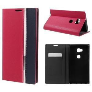 Klopové PU kožené pouzdro na Huawei Honor 5X - červené - 1