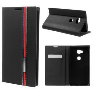 Klopové PU kožené pouzdro na Huawei Honor 5X - černé - 1