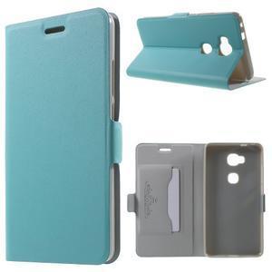Peněženkové PU kožené pouzdro na mobil Honor 5X - modré - 1
