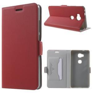Peněženkové PU kožené pouzdro na mobil Honor 5X - červené - 1
