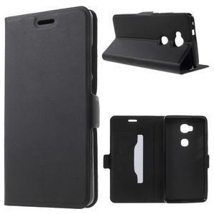Peněženkové PU kožené pouzdro na mobil Honor 5X - černé - 1