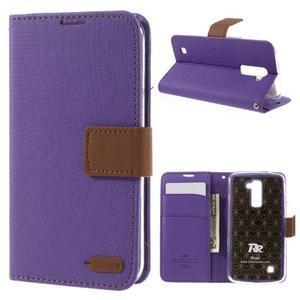 Style PU kožené pouzdro pro LG K10 - fialové - 1