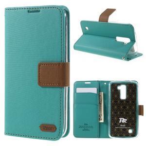 Style PU kožené pouzdro pro LG K10 - zelenomodré - 1