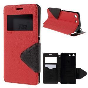 Diary pouzdro s okýnkem na Sony Xperia M5 - červené - 1