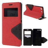 Diary pouzdro s okýnkem na Sony Xperia M5 - červené - 1/7