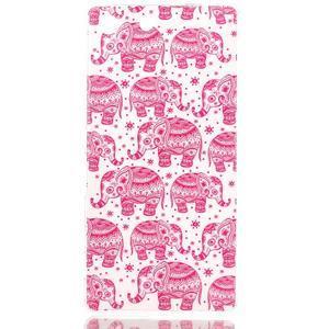 Style gelový obal pro Sony Xperia M5 - růžoví sloni - 1