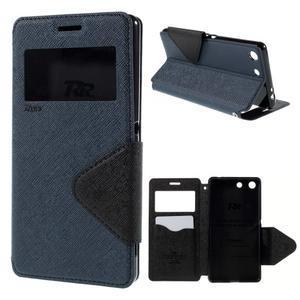 Diary pouzdro s okýnkem na Sony Xperia M5 - tmavěmodré - 1