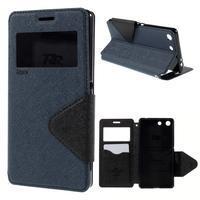 Diary pouzdro s okýnkem na Sony Xperia M5 - tmavěmodré - 1/7
