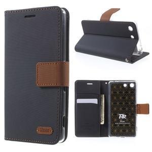 Wall PU kožené pouzdro na mobil Sony Xperia M5 - černé - 1