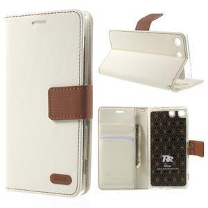 Wall PU kožené pouzdro na mobil Sony Xperia M5 - bílé - 1