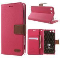 Wall PU kožené pouzdro na mobil Sony Xperia M5 - rose - 1/7