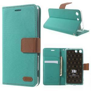 Wall PU kožené pouzdro na mobil Sony Xperia M5 - zelenomodré - 1