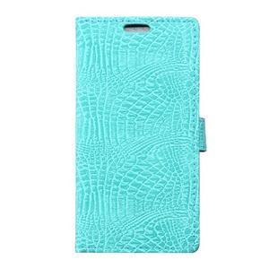 Peněženkové pouzdro s texturou krokodýlí kůže na Sony Xperia M5 - cyan - 1