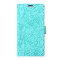 Peněženkové pouzdro s texturou krokodýlí kůže na Sony Xperia M5 - cyan - 1/7