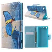 Stand peněženkové pouzdro na Sony Xperia M5 - motýlek - 1/7