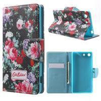 Stand peněženkové pouzdro na Sony Xperia M5 - kvetoucí růže - 1/7