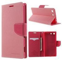 Goos PU kožené penženkové pouzdro na Sony Xperia M5 - růžové - 1/7