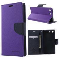 Goos PU kožené penženkové pouzdro na Sony Xperia M5 - fialové - 1/7