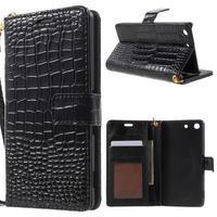 Croco peněženkové pouzdro na mobil Sony Xperia M5 - černé - 1/7