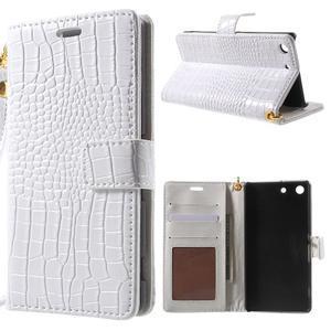 Croco peněženkové pouzdro na mobil Sony Xperia M5 - bílé - 1