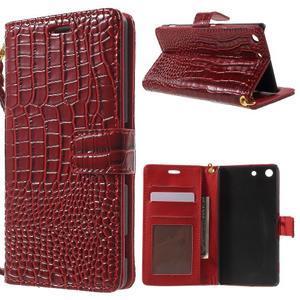 Croco peněženkové pouzdro na mobil Sony Xperia M5 - červené - 1