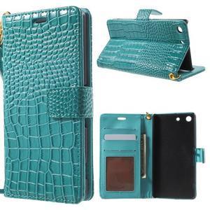 Croco peněženkové pouzdro na mobil Sony Xperia M5 - modré - 1