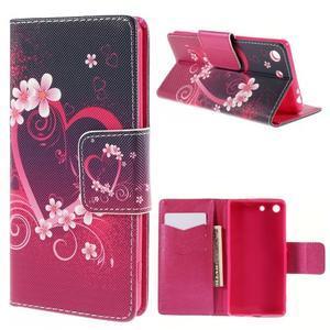 Crafty peněženkové pouzdro na Sony Xperia M5 - srdce - 1