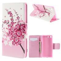 Crafty peněženkové pouzdro na Sony Xperia M5 - kvetoucí větvička - 1/7
