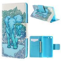 Crafty peněženkové pouzdro na Sony Xperia M5 - modrý slon - 1/7