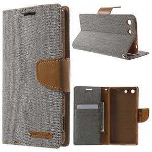 Canvas PU kožené / textilní pouzdro na Sony Xperia M5 - šedé - 1