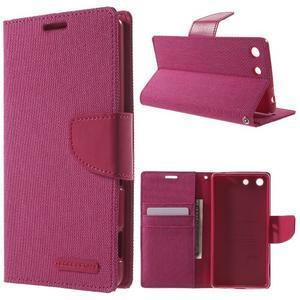 Canvas PU kožené / textilní pouzdro na Sony Xperia M5 - rose - 1