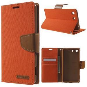 Canvas PU kožené / textilní pouzdro na Sony Xperia M5 - oranžové - 1