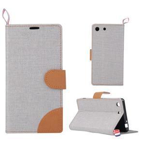 Jeans peněžnkové pouzdro na mobil Sony Xperia M5 - šedé - 1
