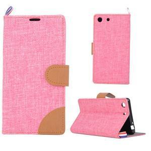 Jeans peněžnkové pouzdro na mobil Sony Xperia M5 - růžové - 1