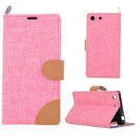 Jeans peněžnkové pouzdro na mobil Sony Xperia M5 - růžové - 1/5
