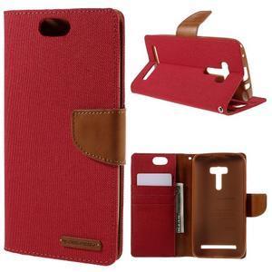 Canvas PU kožené/textilní pouzdro na Asus Zenfone Selfie ZD551KL - červené - 1