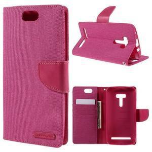 Canvas PU kožené/textilní pouzdro na Asus Zenfone Selfie ZD551KL - rose - 1