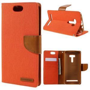 Canvas PU kožené/textilní pouzdro na Asus Zenfone Selfie ZD551KL - oranžové - 1