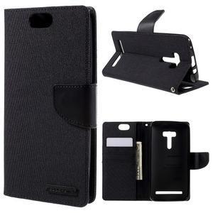 Canvas PU kožené/textilní pouzdro na Asus Zenfone Selfie ZD551KL - černé - 1