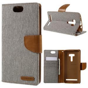 Canvas PU kožené/textilní pouzdro na Asus Zenfone Selfie ZD551KL - šedé - 1