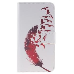 Peněženkové pouzdro pro mobil Honor 5X - ptačí peříčko - 1